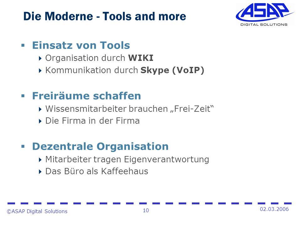 ©ASAP Digital Solutions 10 02.03.2006 Die Moderne - Tools and more Einsatz von Tools Organisation durch WIKI Kommunikation durch Skype (VoIP) Freiräum