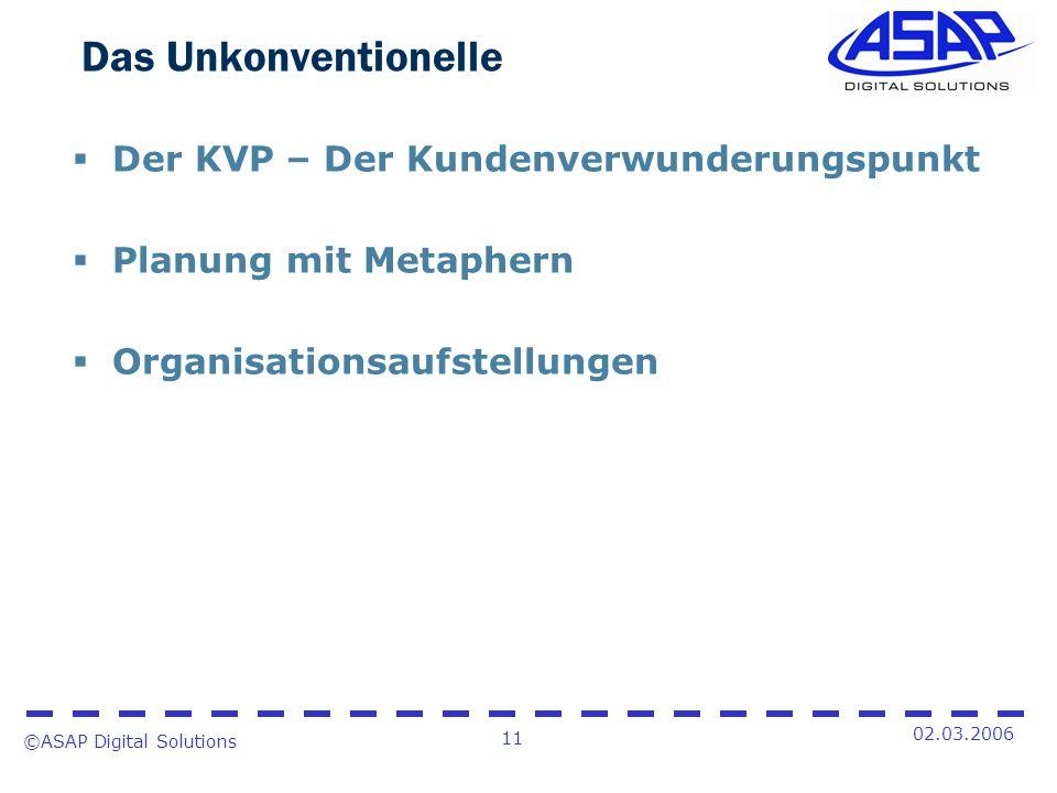 ©ASAP Digital Solutions 11 02.03.2006 Das Unkonventionelle Der KVP – Der Kundenverwunderungspunkt Planung mit Metaphern Organisationsaufstellungen