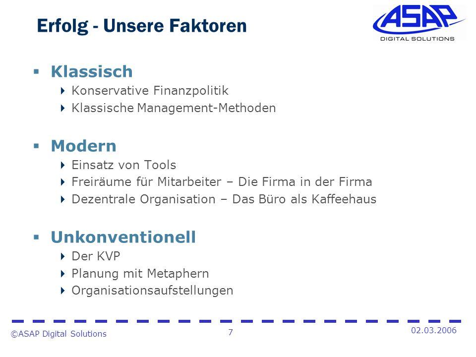 ©ASAP Digital Solutions 7 02.03.2006 Erfolg - Unsere Faktoren Klassisch Konservative Finanzpolitik Klassische Management-Methoden Modern Einsatz von T
