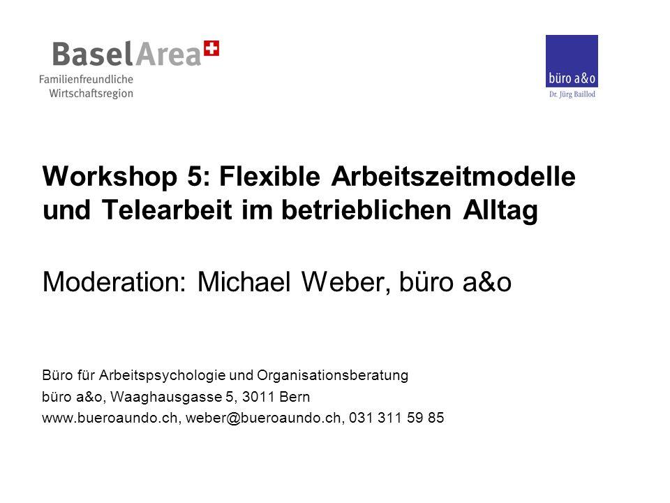 Workshop 5: Flexible Arbeitszeitmodelle und Telearbeit im betrieblichen Alltag Moderation: Michael Weber, büro a&o Büro für Arbeitspsychologie und Org