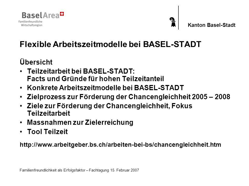 Familienfreundlichkeit als Erfolgsfaktor – Fachtagung 15. Februar 2007 Kanton Basel-Stadt Flexible Arbeitszeitmodelle bei BASEL-STADT Übersicht Teilze