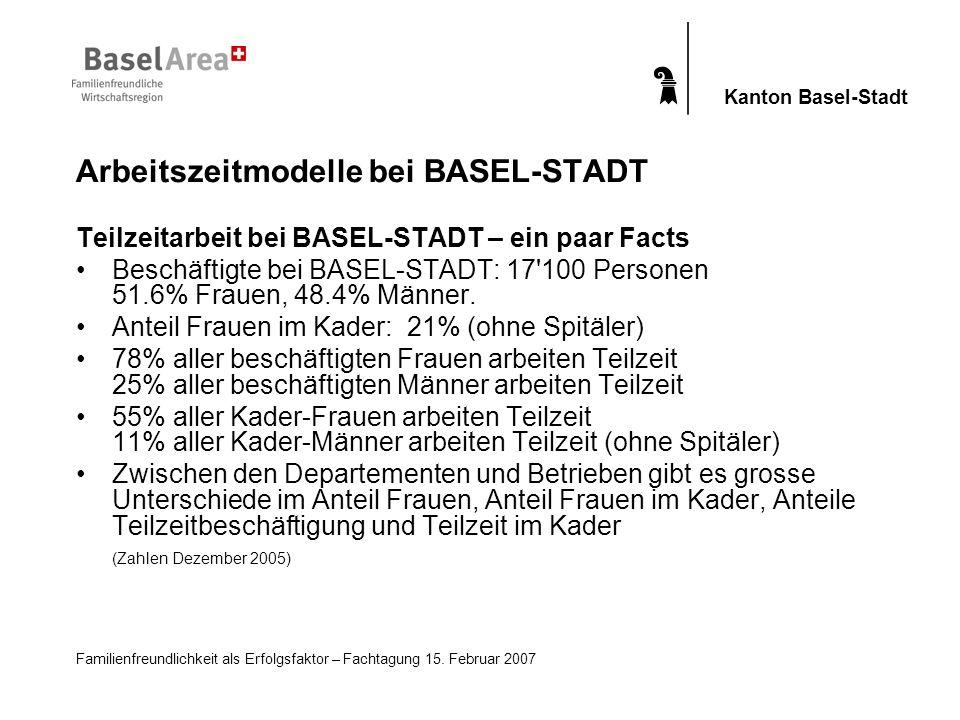 Familienfreundlichkeit als Erfolgsfaktor – Fachtagung 15. Februar 2007 Kanton Basel-Stadt Teilzeitarbeit bei BASEL-STADT – ein paar Facts Beschäftigte