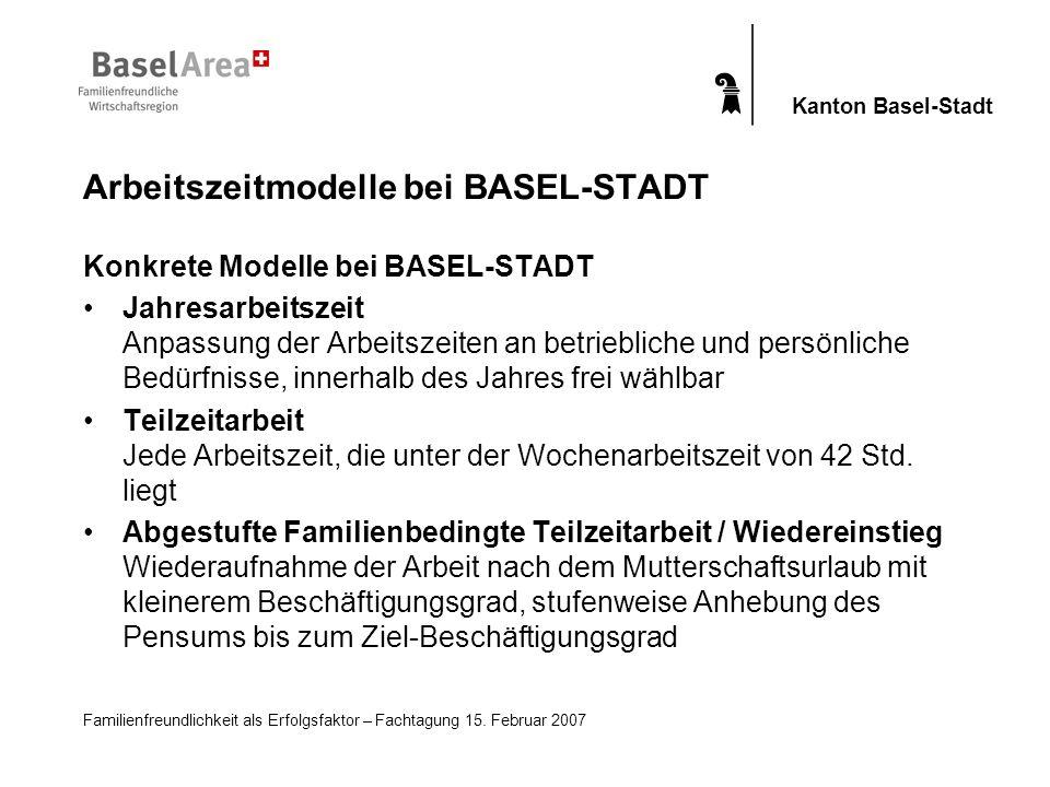 Familienfreundlichkeit als Erfolgsfaktor – Fachtagung 15. Februar 2007 Kanton Basel-Stadt Konkrete Modelle bei BASEL-STADT Jahresarbeitszeit Anpassung