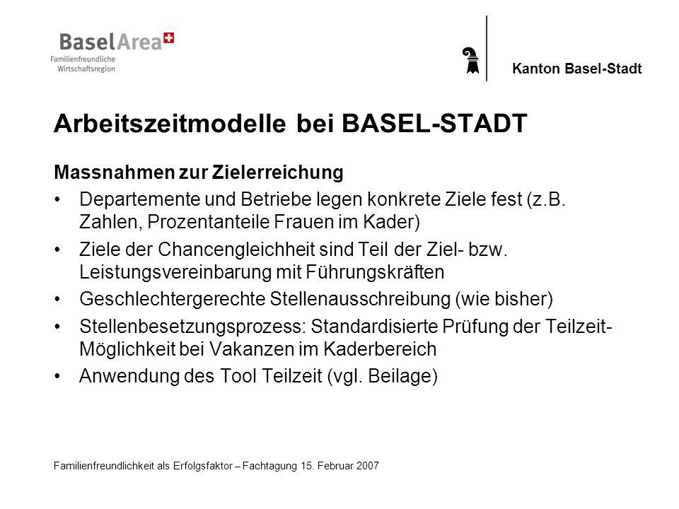 Familienfreundlichkeit als Erfolgsfaktor – Fachtagung 15. Februar 2007 Kanton Basel-Stadt Massnahmen zur Zielerreichung Departemente und Betriebe lege