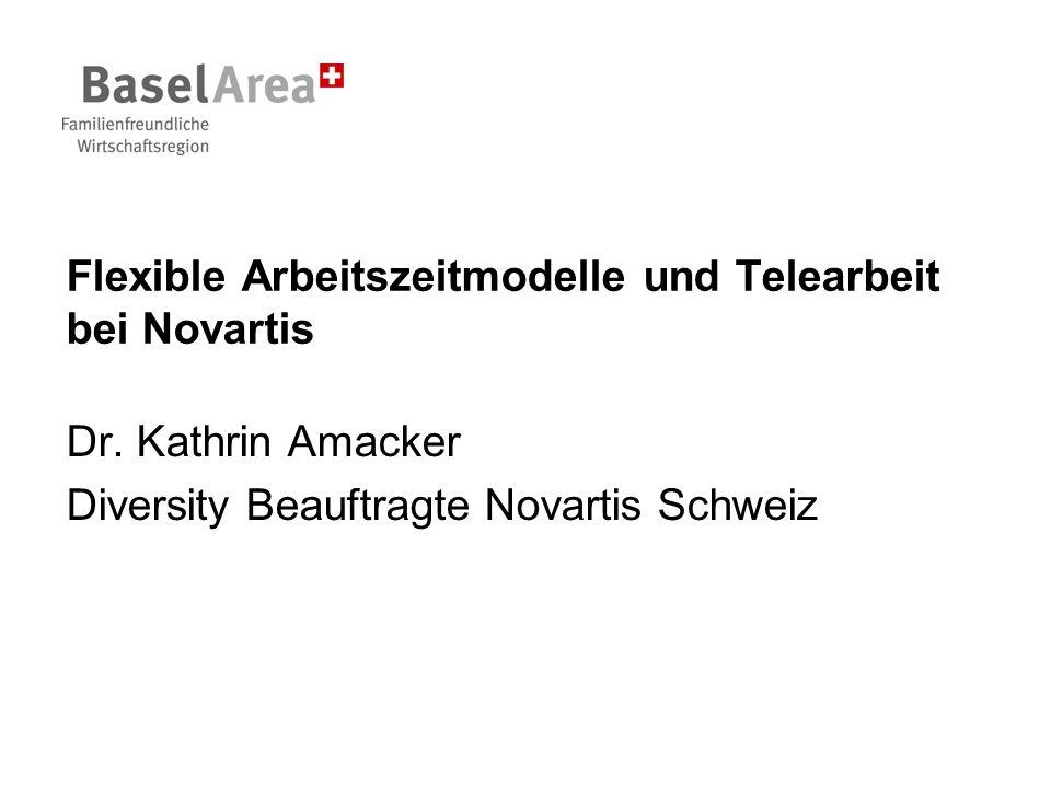 Flexible Arbeitszeitmodelle und Telearbeit bei Novartis Dr. Kathrin Amacker Diversity Beauftragte Novartis Schweiz