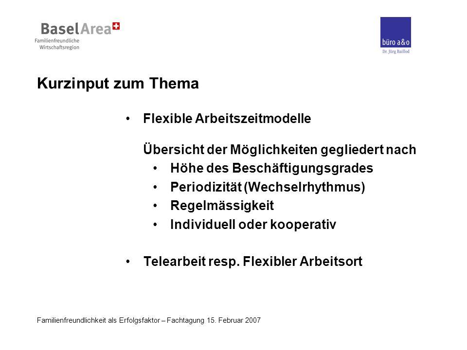 Familienfreundlichkeit als Erfolgsfaktor – Fachtagung 15. Februar 2007 Kurzinput zum Thema Flexible Arbeitszeitmodelle Übersicht der Möglichkeiten geg