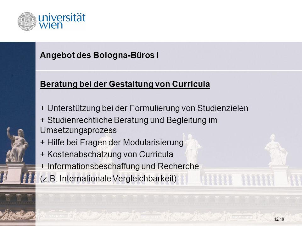 12/18 Angebot des Bologna-Büros I Beratung bei der Gestaltung von Curricula + Unterstützung bei der Formulierung von Studienzielen + Studienrechtliche