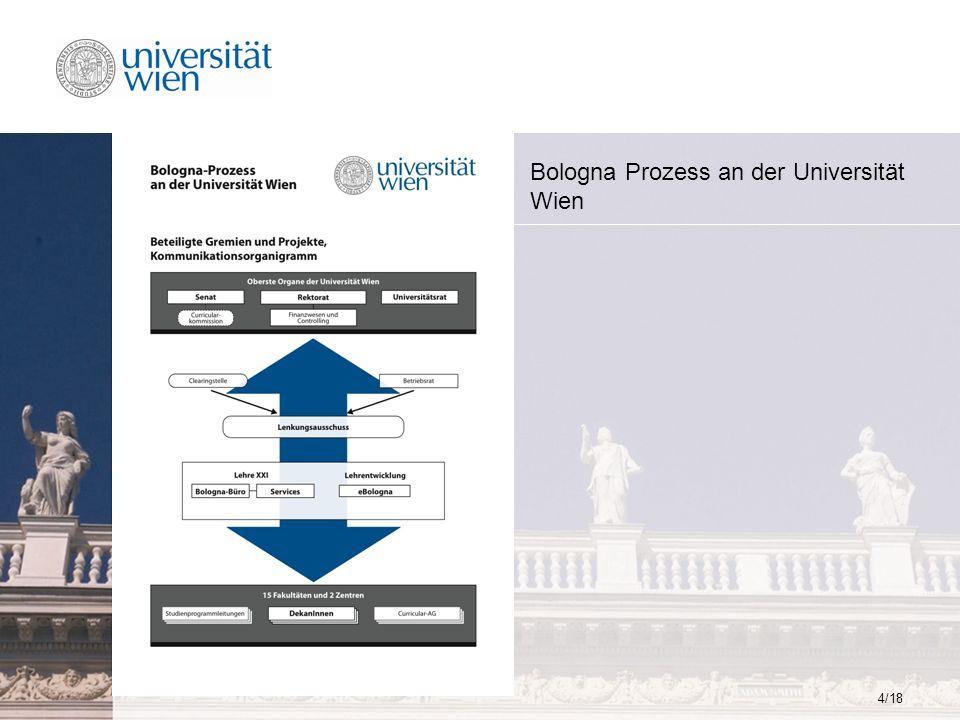 15/18 Projektabschluss 2008 I Beratung der Fakultäten in Fragen der Curriculumsentwicklung Organisation und Abwicklung von Informationsveranstaltungen zum Bologna-Prozess universitätsinterne Moderation von projekt-relevanter Kommunikation Wissensorganisation zum Bologna-Prozess an der Universität Wien