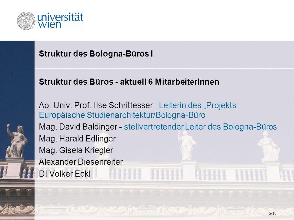 5/18 Struktur des Bologna-Büros I Struktur des Büros - aktuell 6 MitarbeiterInnen Ao. Univ. Prof. Ilse Schrittesser - Leiterin des Projekts Europäisch