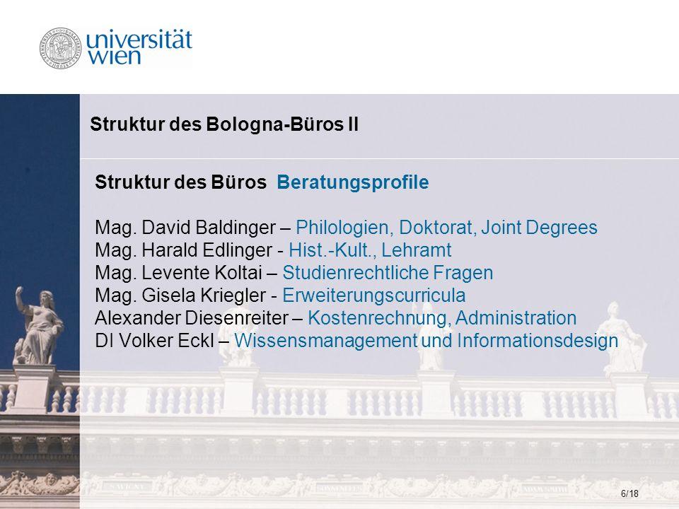 6/18 Struktur des Bologna-Büros II Struktur des Büros Beratungsprofile Mag. David Baldinger – Philologien, Doktorat, Joint Degrees Mag. Harald Edlinge