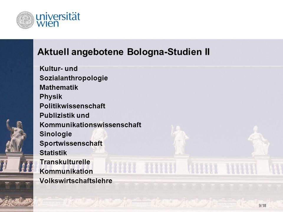 9/18 Aktuell angebotene Bologna-Studien II Kultur- und Sozialanthropologie Mathematik Physik Politikwissenschaft Publizistik und Kommunikationswissens