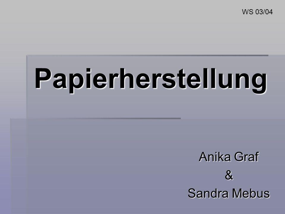 Papierherstellung Anika Graf & Sandra Mebus WS 03/04