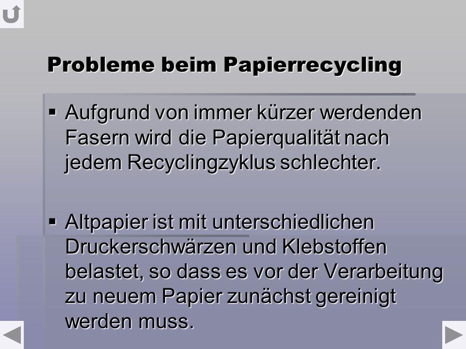 Probleme beim Papierrecycling Aufgrund von immer kürzer werdenden Fasern wird die Papierqualität nach jedem Recyclingzyklus schlechter. Aufgrund von i