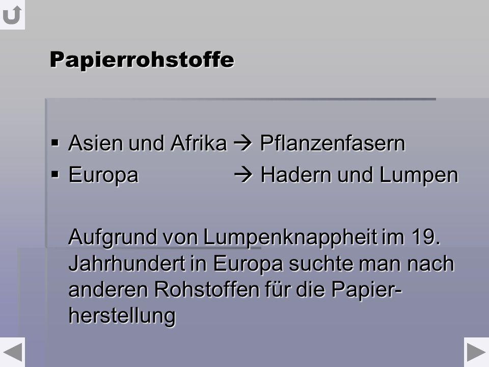 Papierrohstoffe Asien und Afrika Pflanzenfasern Asien und Afrika Pflanzenfasern Europa Hadern und Lumpen Europa Hadern und Lumpen Aufgrund von Lumpenknappheit im 19.