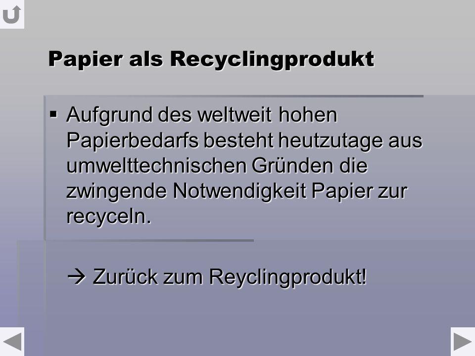 Papier als Recyclingprodukt Aufgrund des weltweit hohen Papierbedarfs besteht heutzutage aus umwelttechnischen Gründen die zwingende Notwendigkeit Pap