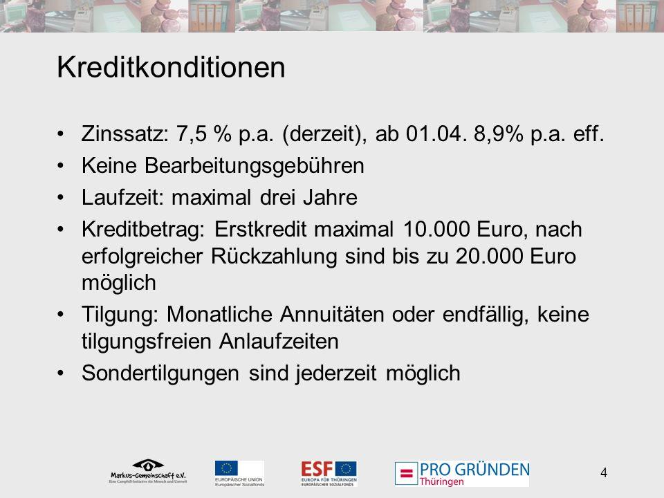 4 Kreditkonditionen Zinssatz: 7,5 % p.a. (derzeit), ab 01.04.