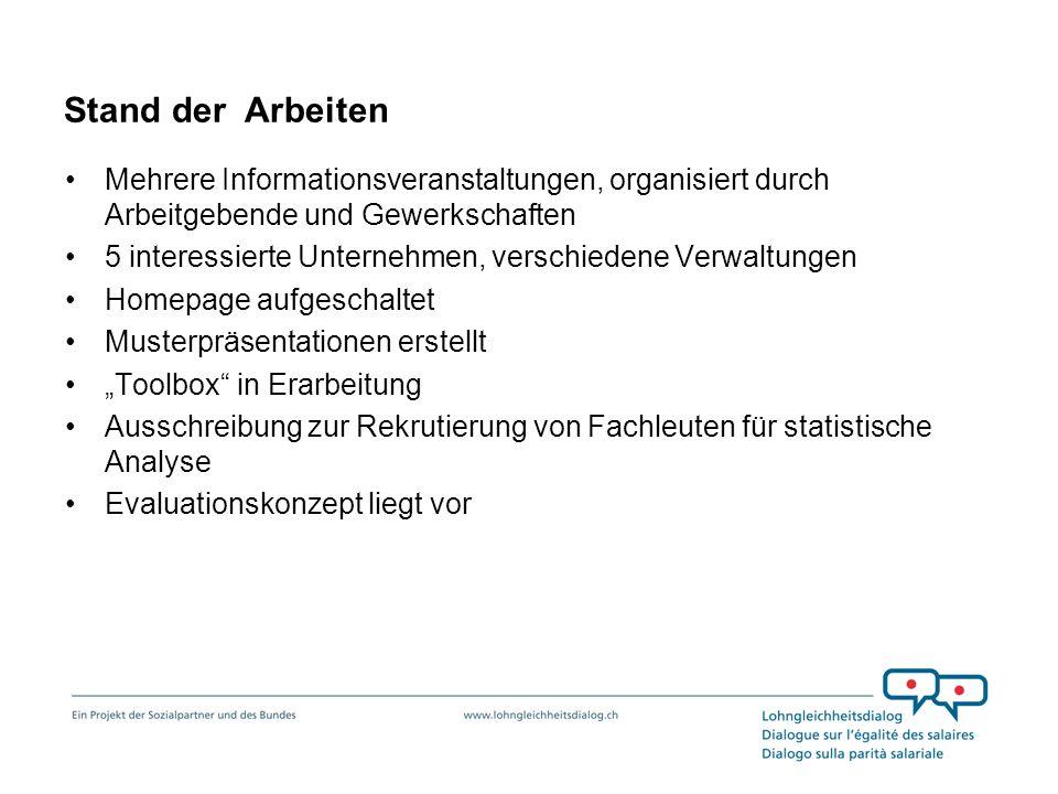 Stand der Arbeiten Mehrere Informationsveranstaltungen, organisiert durch Arbeitgebende und Gewerkschaften 5 interessierte Unternehmen, verschiedene V