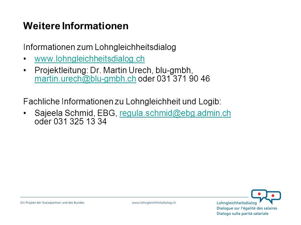 Weitere Informationen Informationen zum Lohngleichheitsdialog www.lohngleichheitsdialog.ch Projektleitung: Dr. Martin Urech, blu-gmbh, martin.urech@bl