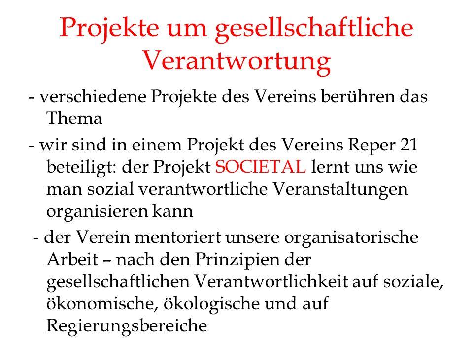 Projekte um gesellschaftliche Verantwortung - verschiedene Projekte des Vereins berühren das Thema - wir sind in einem Projekt des Vereins Reper 21 beteiligt: der Projekt SOCIETAL lernt uns wie man sozial verantwortliche Veranstaltungen organisieren kann - der Verein mentoriert unsere organisatorische Arbeit – nach den Prinzipien der gesellschaftlichen Verantwortlichkeit auf soziale, ökonomische, ökologische und auf Regierungsbereiche