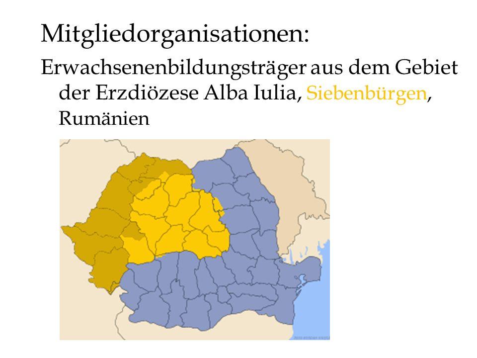 Mitgliedorganisationen: Erwachsenenbildungsträger aus dem Gebiet der Erzdiözese Alba Iulia, Siebenbürgen, Rumänien