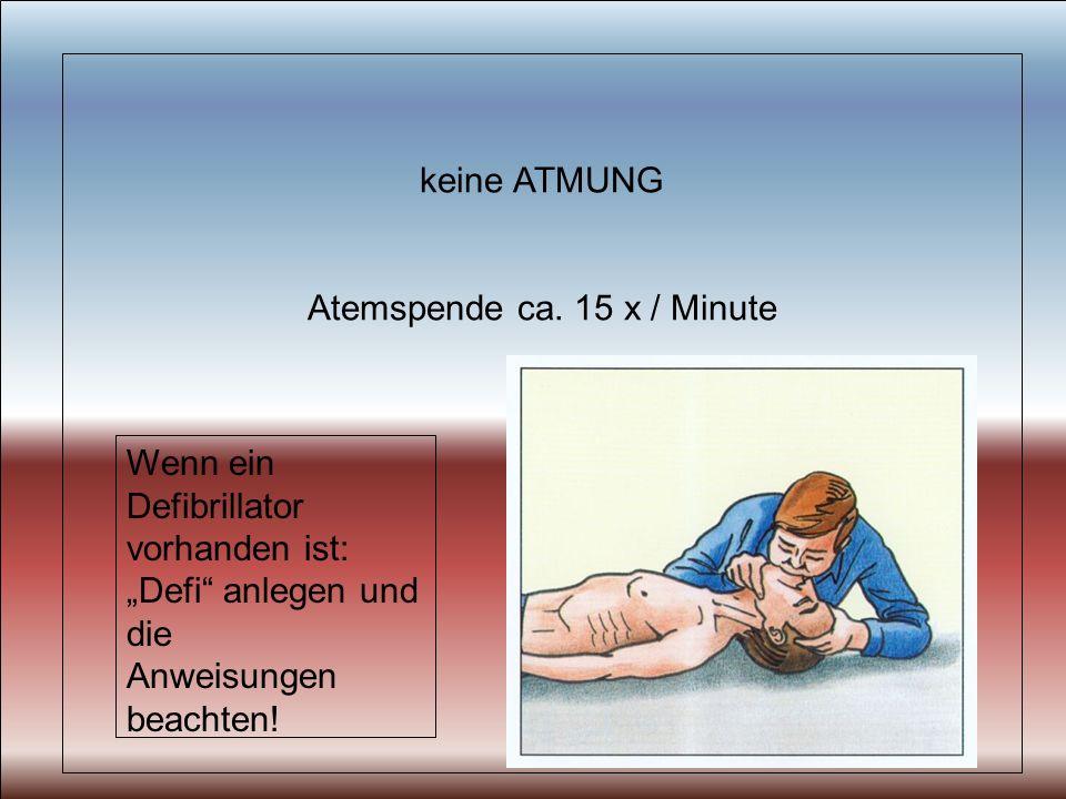 keine ATMUNG Atemspende ca. 15 x / Minute Wenn ein Defibrillator vorhanden ist: Defi anlegen und die Anweisungen beachten!