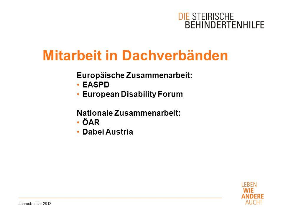 Mitarbeit in Dachverbänden Jahresbericht 2012 Europäische Zusammenarbeit: EASPD European Disability Forum Nationale Zusammenarbeit: ÖAR Dabei Austria