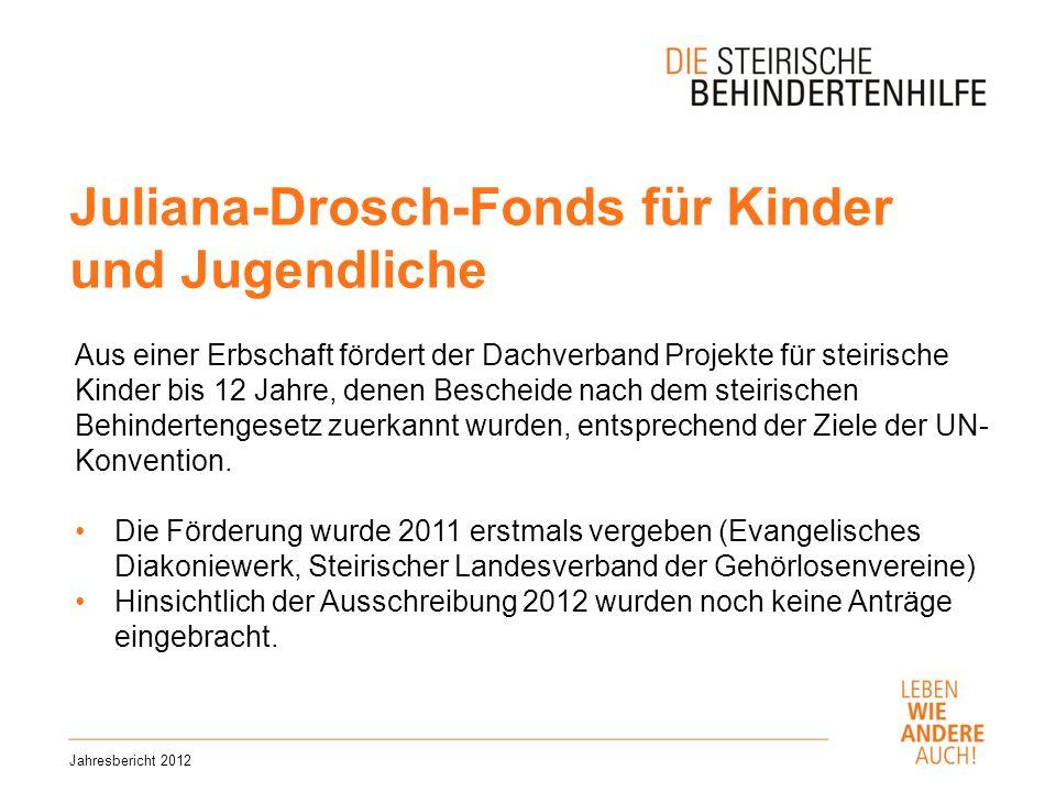 Juliana-Drosch-Fonds für Kinder und Jugendliche Jahresbericht 2012 Aus einer Erbschaft fördert der Dachverband Projekte für steirische Kinder bis 12 Jahre, denen Bescheide nach dem steirischen Behindertengesetz zuerkannt wurden, entsprechend der Ziele der UN- Konvention.