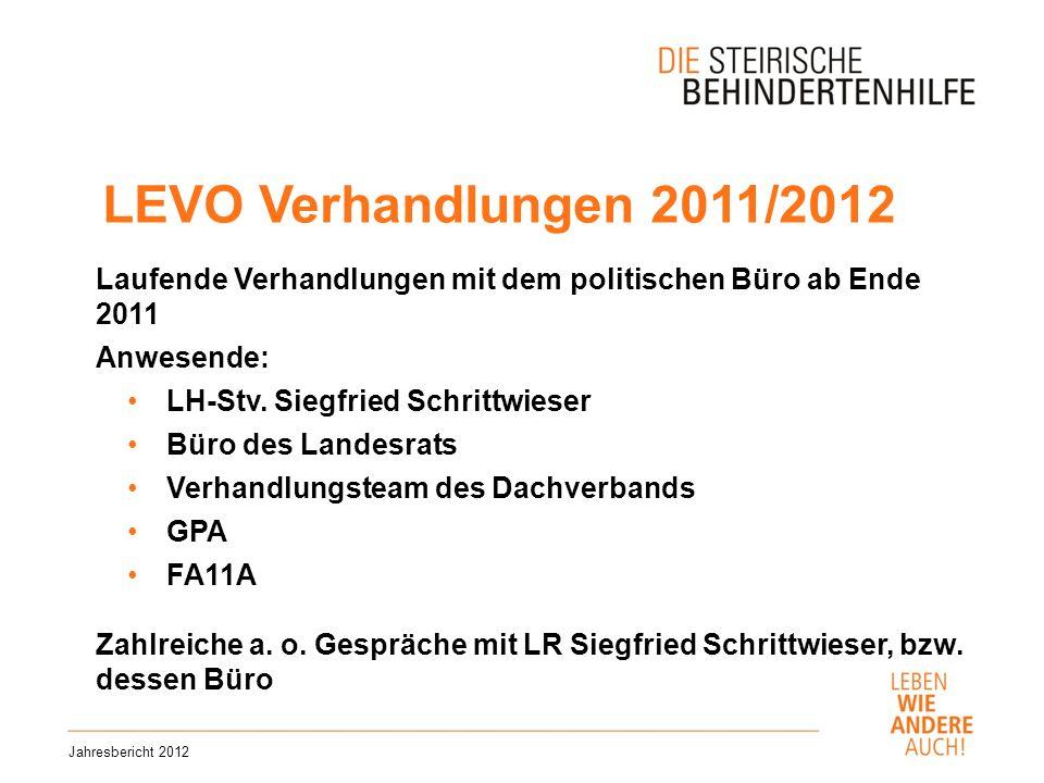 LEVO Verhandlungen 2011/2012 Jahresbericht 2012 Laufende Verhandlungen mit dem politischen Büro ab Ende 2011 Anwesende: LH-Stv.