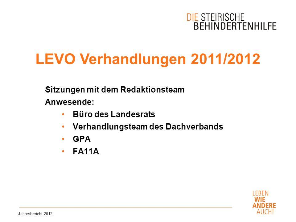 LEVO Verhandlungen 2011/2012 Sitzungen mit dem Redaktionsteam Anwesende: Büro des Landesrats Verhandlungsteam des Dachverbands GPA FA11A Jahresbericht 2012