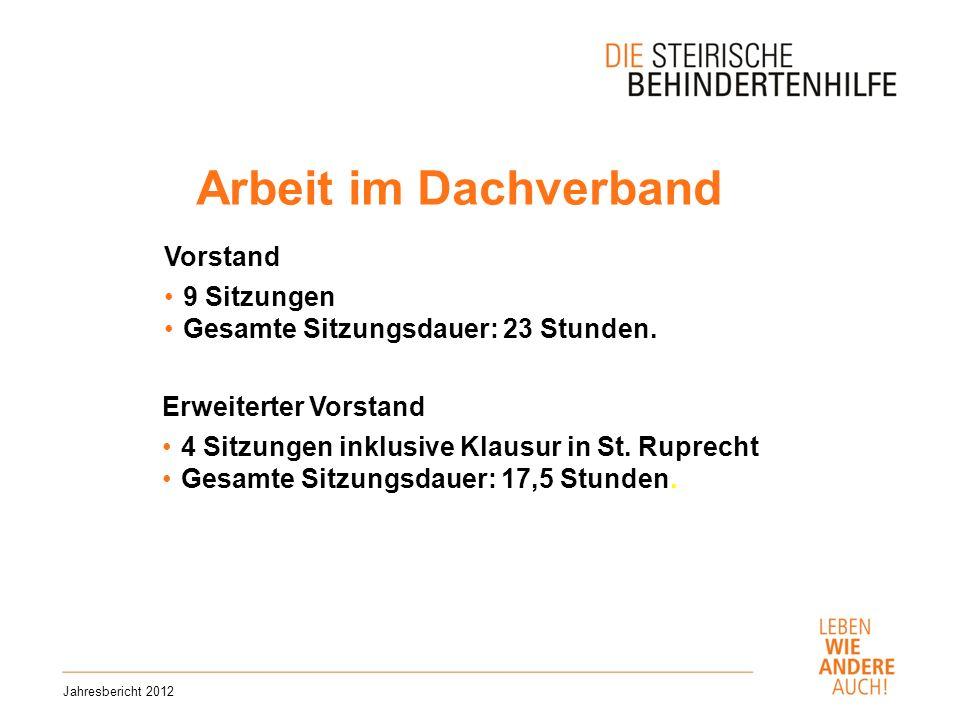 Arbeit im Dachverband Jahresbericht 2012 Vorstand 9 Sitzungen Gesamte Sitzungsdauer: 23 Stunden.