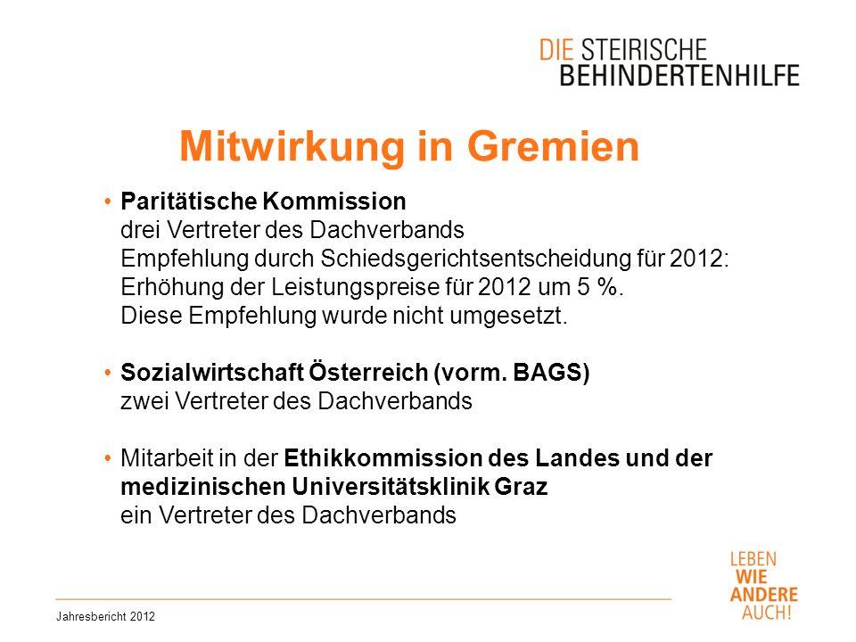 Mitwirkung in Gremien Jahresbericht 2012 Paritätische Kommission drei Vertreter des Dachverbands Empfehlung durch Schiedsgerichtsentscheidung für 2012: Erhöhung der Leistungspreise für 2012 um 5 %.