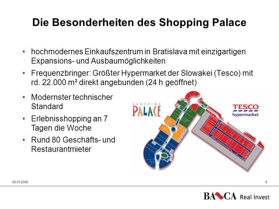 08.03.200610 Einkaufszentren in Österreich - ein Vergleich Zentrum vermietbare Fläche in m2 Besucher c.a.