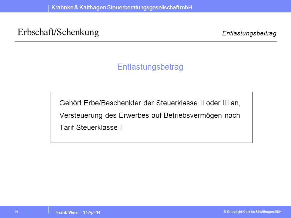 Krahnke & Katthagen Steuerberatungsgesellschaft mbH © Cnpyright Krahnke & Katthagen 2004 Frank Weis | 17-Apr-14 14 Erbschaft/Schenkung Entlastungsbeit