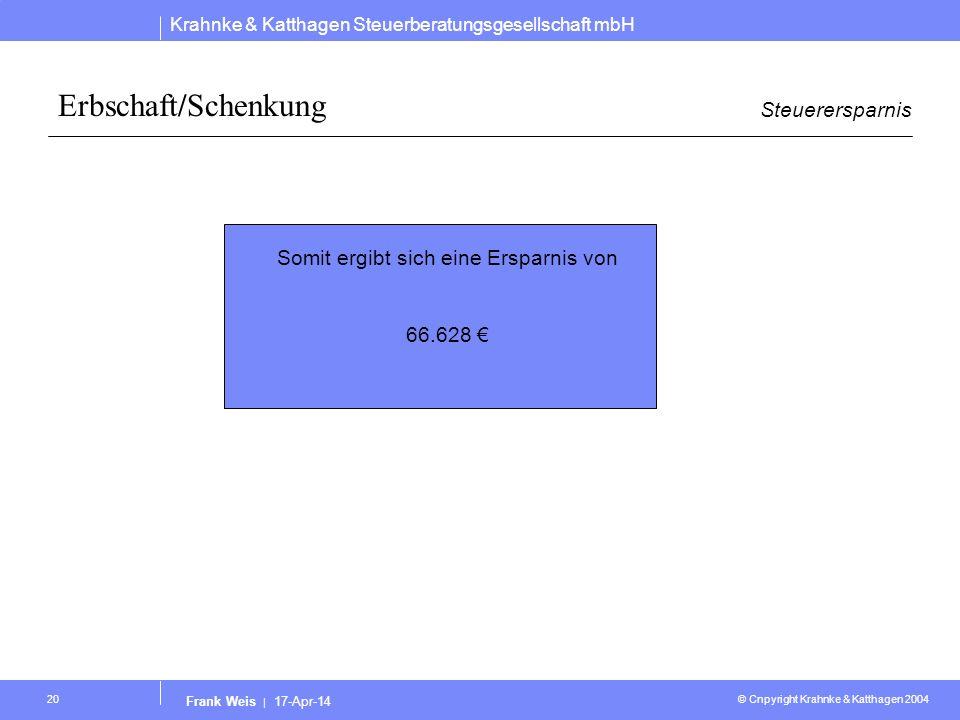 Krahnke & Katthagen Steuerberatungsgesellschaft mbH © Cnpyright Krahnke & Katthagen 2004 Frank Weis | 17-Apr-14 20 Erbschaft/Schenkung Steuerersparnis