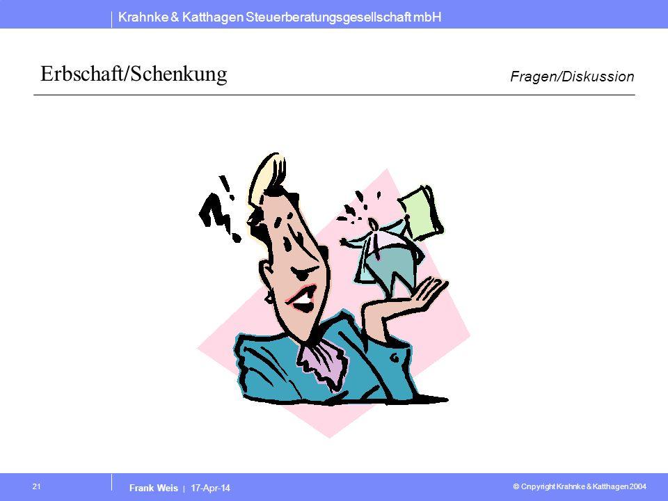 Krahnke & Katthagen Steuerberatungsgesellschaft mbH © Cnpyright Krahnke & Katthagen 2004 Frank Weis | 17-Apr-14 21 Erbschaft/Schenkung Fragen/Diskussi