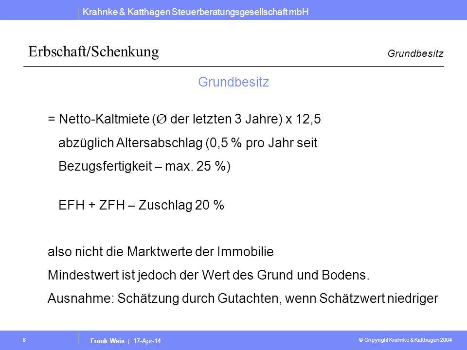 Krahnke & Katthagen Steuerberatungsgesellschaft mbH © Cnpyright Krahnke & Katthagen 2004 Frank Weis | 17-Apr-14 8 Erbschaft/Schenkung Grundbesitz = Ne