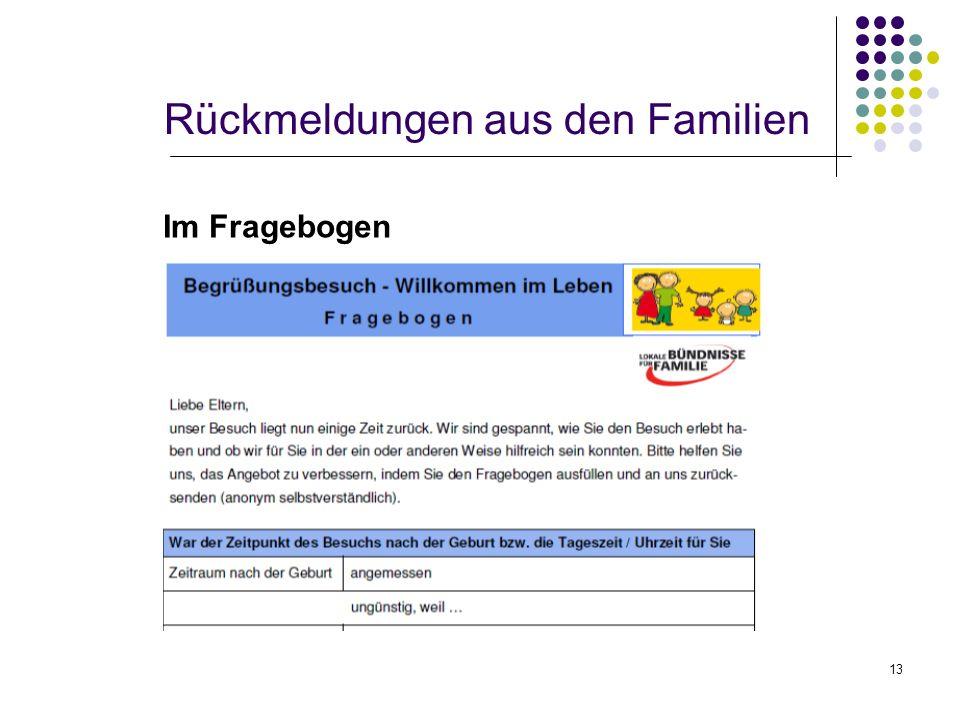 13 Rückmeldungen aus den Familien Im Fragebogen