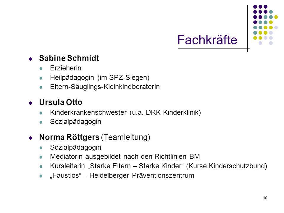 16 Fachkräfte Sabine Schmidt Erzieherin Heilpädagogin (im SPZ-Siegen) Eltern-Säuglings-Kleinkindberaterin Ursula Otto Kinderkrankenschwester (u.a. DRK