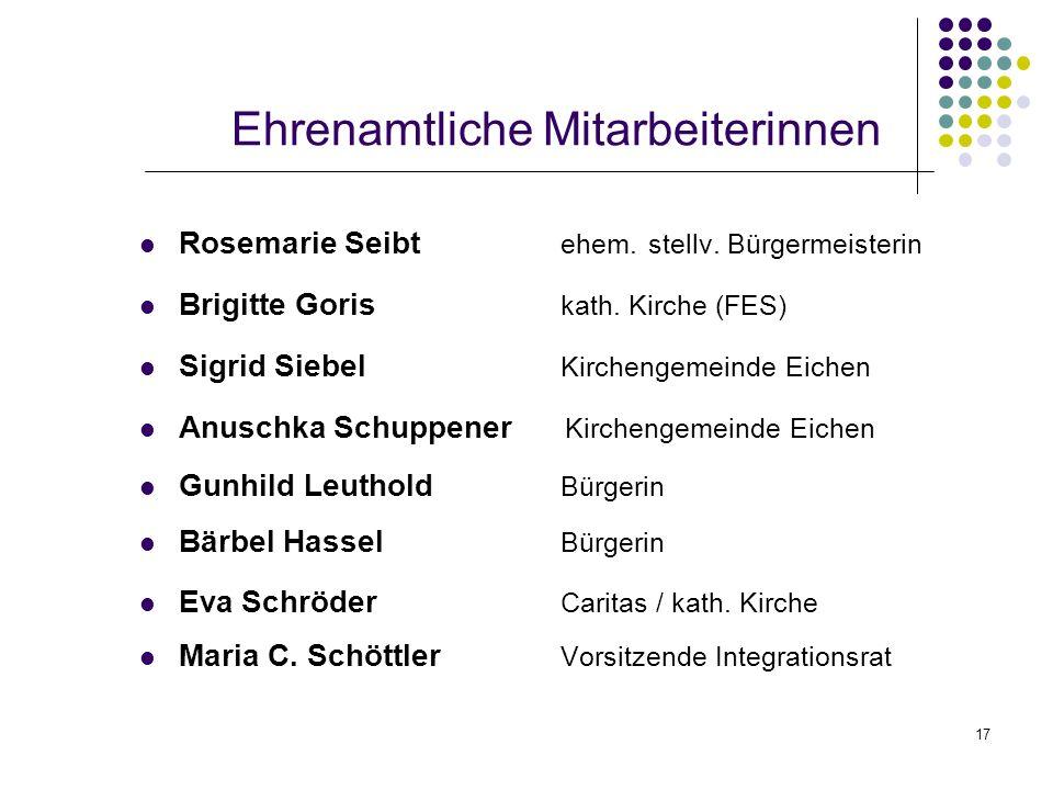 17 Ehrenamtliche Mitarbeiterinnen Rosemarie Seibt ehem. stellv. Bürgermeisterin Brigitte Goris kath. Kirche (FES) Sigrid Siebel Kirchengemeinde Eichen