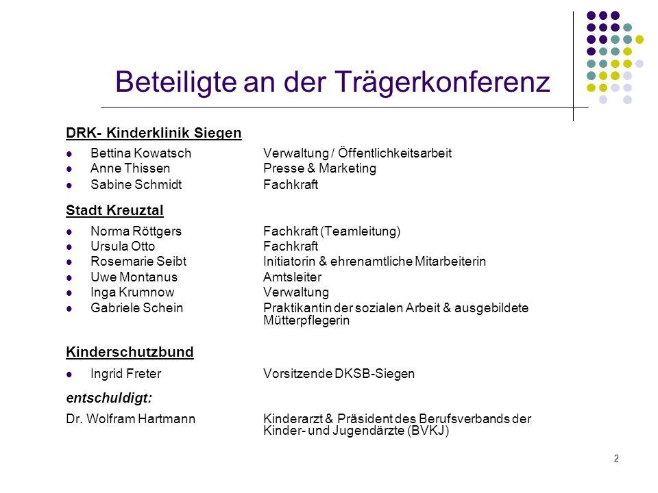 2 Beteiligte an der Trägerkonferenz DRK- Kinderklinik Siegen Bettina KowatschVerwaltung / Öffentlichkeitsarbeit Anne ThissenPresse & Marketing Sabine