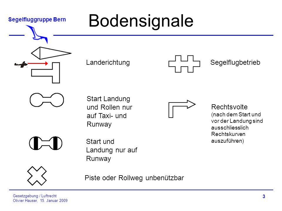 Segelfluggruppe Bern Gesetzgebung / Luftrecht Olivier Hauser, 15.