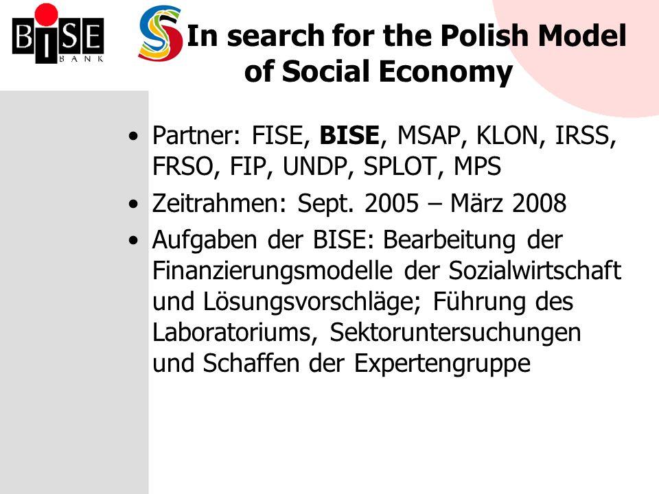 SKES (Permanent Conference on Social Economy) Plattform für Dialog und neue Ideen im Sektor Wurde in Oktober 2004 während des II Sozialwirtschaftkonferenz in Krakau gegründet Mitglieder: BISE, ZLSP, FISE, SKOK (Sparkasse), TUW (Gegenseitige Versicherung Institute), Genossenschaftsbanken, FIP, FdP Tätigkeiten: –NPR – der Vorschlag die Sozialwirtschaft als Werkzeug zu nutzen –Teilnahme an IV OFIP (Forum des Nichtregierungsinitiativen) (2005) Zukunftspläne