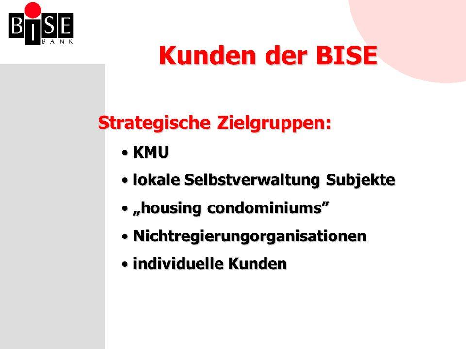 Kunden der BISE Strategische Zielgruppen: KMU KMU lokale Selbstverwaltung Subjekte lokale Selbstverwaltung Subjekte housing condominiums housing condominiums Nichtregierungorganisationen Nichtregierungorganisationen individuelle Kunden individuelle Kunden