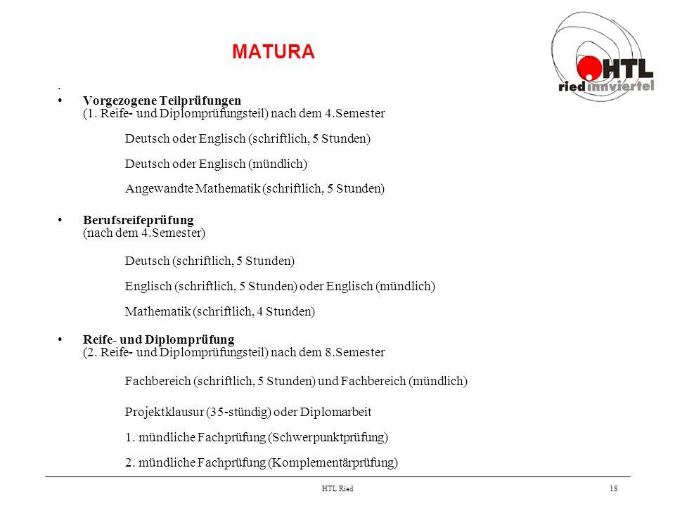 HTL Ried18 MATURA. Vorgezogene Teilprüfungen (1. Reife- und Diplomprüfungsteil) nach dem 4.Semester Deutsch oder Englisch (schriftlich, 5 Stunden) Deu