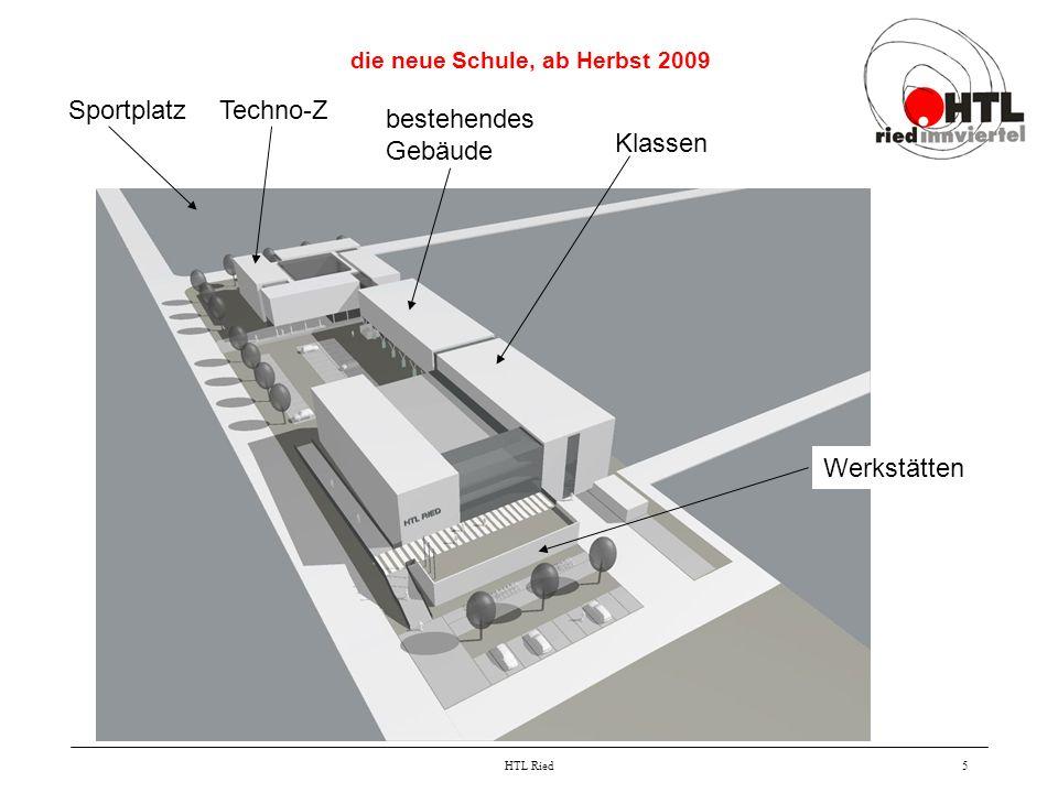 HTL Ried5 die neue Schule, ab Herbst 2009 Klassen Werkstätten bestehendes Gebäude Techno-ZSportplatz