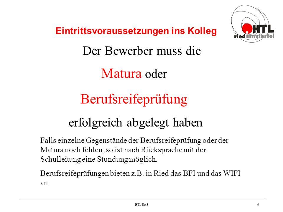 HTL Ried10 Eintrittsvoraussetzungen für HTL-B Der Bewerber muss: im Kalenderjahr der Aufnahme das 17.