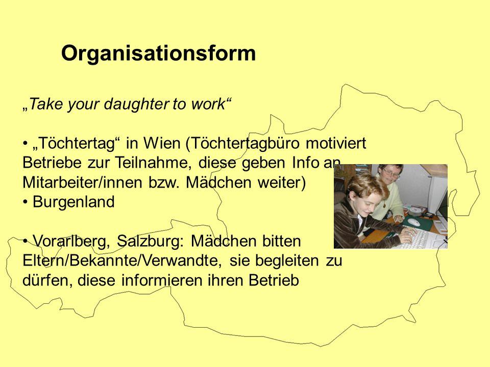 Take your daughter to work Töchtertag in Wien (Töchtertagbüro motiviert Betriebe zur Teilnahme, diese geben Info an Mitarbeiter/innen bzw. Mädchen wei