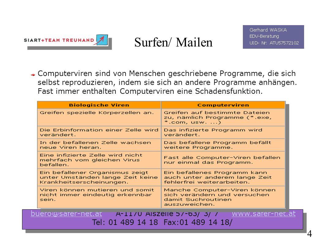 Surfen/ Mailen Welche Gefahren bestehen beim Surfen/ Mailen im Internet ? Allgemeine ( Malicious Code) Viren ( Interaktion notwendig) Würmer ( keine I