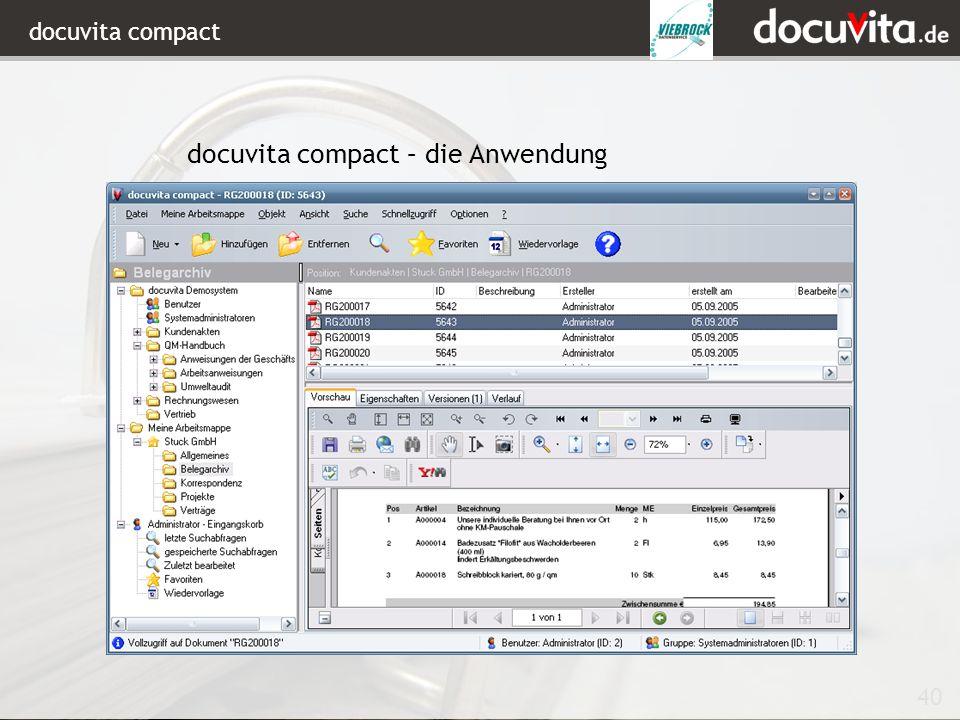 40 docuvita compact docuvita compact – die Anwendung