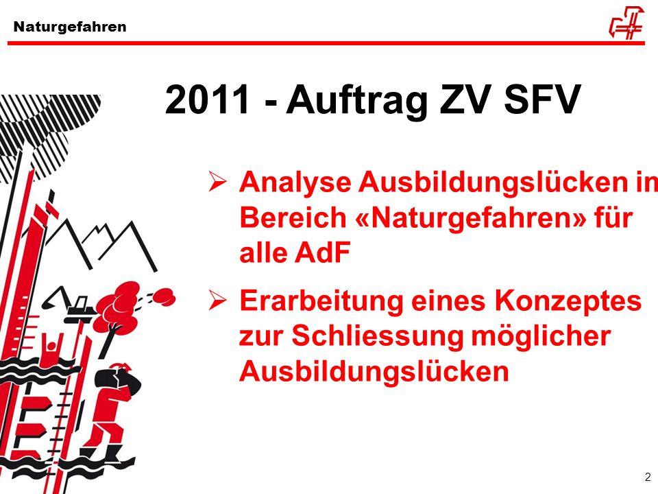 2 Naturgefahren 2011 - Auftrag ZV SFV Analyse Ausbildungslücken im Bereich «Naturgefahren» für alle AdF Erarbeitung eines Konzeptes zur Schliessung mö